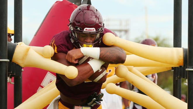 Arizona State wide receiver #1 N'Keal Harry during practice in the Verde Dickey Dome in Tempe, Ariz. on Wednesday, Sept. 13, 2016.