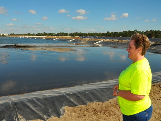 Amy Herrell, co-founder of The EGRET Project  (Eau Gallie River Environment is Threatened) looks out at the dredge pumping into one of two 28-acre retention sites. The $20 million dredging project is among the a dozen state-funded projects in the works to clean up the lagoon.