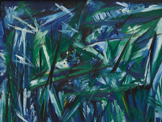 """Rayonism, Blue-Green Forest"" by Natalia Goncharova."