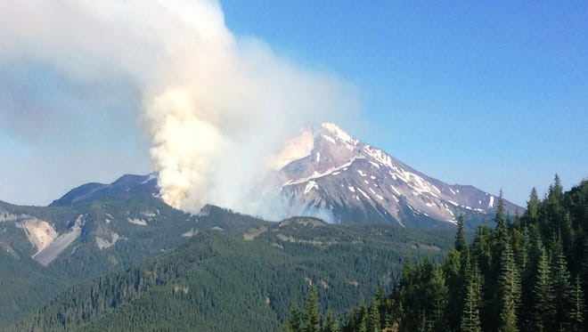 The Whitewater Fire, burning in the Mount Jefferson Wilderness, on Aug. 1, 2017.
