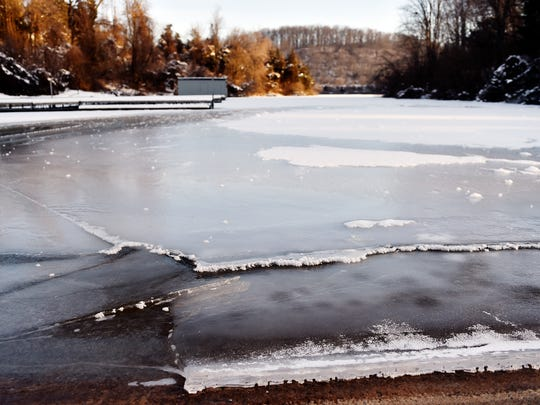 Ice is seen forming on the surface of Lake Redman at the boat launch in William H. Kain County Park in Springfield Township Friday, Feb. 12, 2016. York County is facing the coldest weather of the season so far, with temperatures dipping into the single-digits.