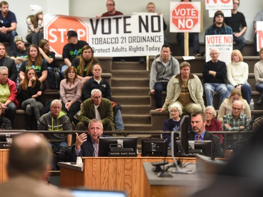 St. Cloud Mayor Kleis explains his plans to veto a city council vote that would have made the legal sales age for tobacco 21 Monday, Nov. 6, during the St. Cloud City Council meeting at city hall.