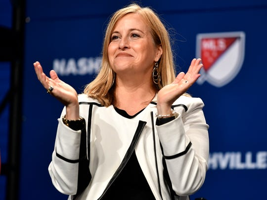 Mayor Megan Barry applauds during the announcement of the new Major League Soccer franchise in Nashville at the Country Music Hall of Fame Wednesday, Dec. 20, 2017, in Nashville, Tenn.