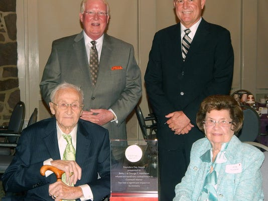 Curtis Walizer, Cornwall Manor Board Chair (standing left) and Steven Hassinger, Cornwall Manor President (standing right) congratulate the 2015 Founders Day Recipients, George and Betty Matthews (seated).