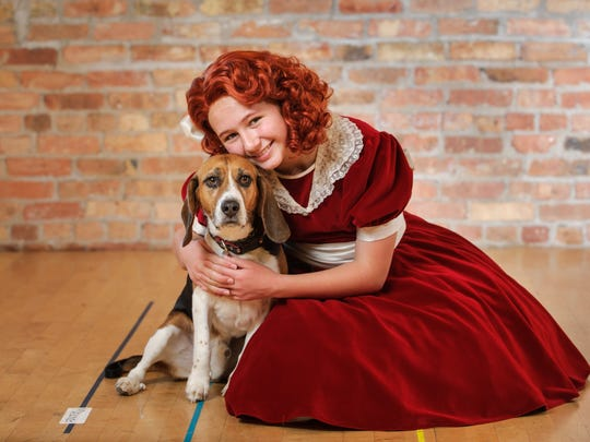 "Eloise Field and Shiloh play Annie and Sandy in Skylight Music Theatre's production of ""Annie."""
