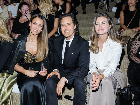 Jessica Alba, David Lauren, and sister Dylan Lauren