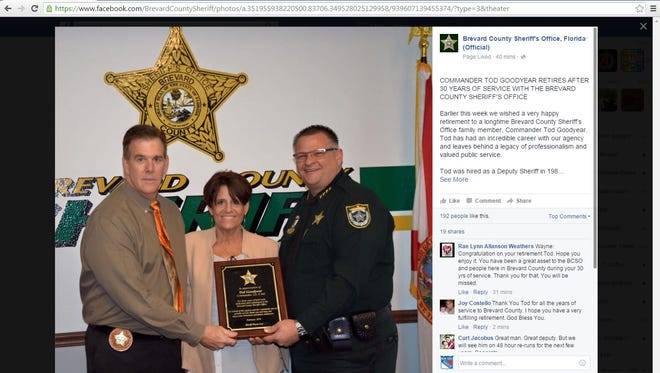 Cmdr. Tod Goodyear was head of the Brevard County Sheriff's Office's criminal investigative services unit.