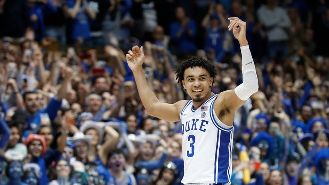 Tre Jones reacts during a game on March 7.