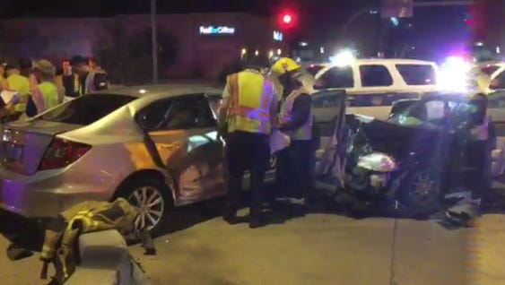 A three-vehicle collision injures 5 at Beardsley Road and 27th Avenue in Phoenix on Saturday, Nov. 14, 2015.