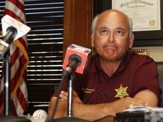 Ouachita Parish Sheriff Jay Russell speaks about the shooting of two officers earlier in the morning during a press conference in his office in Monroe on Thursday. Two OPSO officers were shot and injured while attempting to deliver a felony warrant to Ricky Lavelle Wade at a home on Mary Beth Court in southern Monroe. Wade, who fled the home, has been identified as the suspect in the shooting and was apprehended in a home on Michelle Court in southern Monroe.