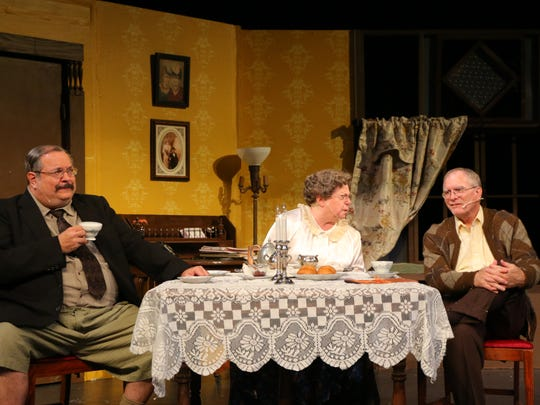 "Macheal Markuson, Nancy Frumen and Jim Henry as Teddy Brewster, Abby Brewster and Reverend Harper  in ""Arsenic and Old Lace"" from Waynesboro Players."