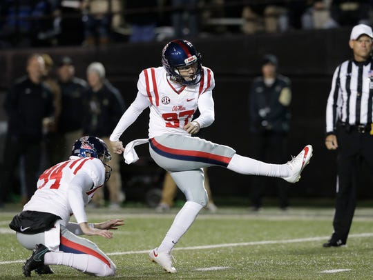 Ole Miss kicker Gary Wunderlich made 22 of his 23 field