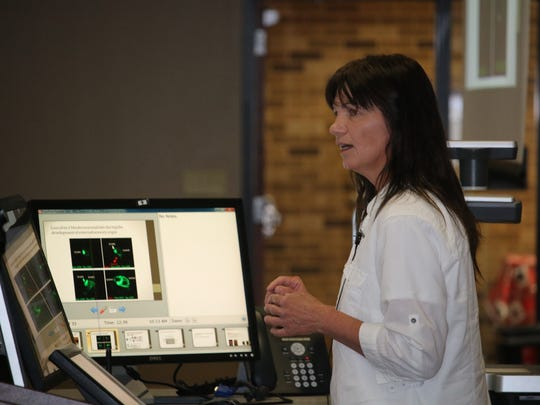 Texas Tech University Health Sciences Center researcher Magdalena Karbowniczek presents her research into stubborn tumors during the school's Abilene Research Symposium on April 27.
