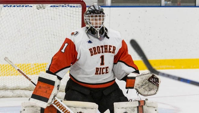 Brother Rice goalie Ryan Hoffman blanked Romeo, 4-0, in the Division 2 state quarterfinal game played Tuesday in Macomb County.