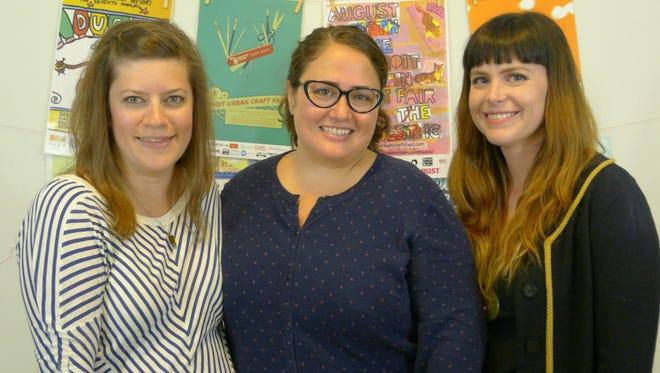 Carey Gustafson, left, Amy Cronkite and Bethany Nixon of Handmade Detroit.
