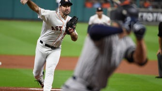 Houston Astros starting pitcher Justin Verlander throws during the first inning of Game 6 of baseball's American League Championship Series against the New York Yankees Friday, Oct. 20, 2017, in Houston.