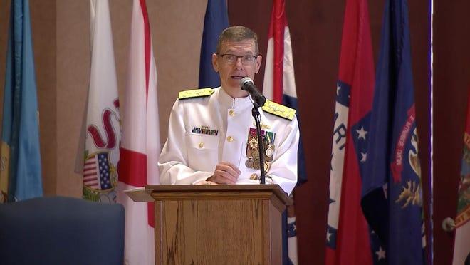 Luke McCollum speaks at the Admiral Leutze Park, Washington Navy Yard in Washington, D.C., on Friday morning.