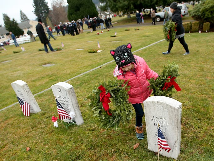 With a wreath in each hand, Addison Kollmorgen, 6,