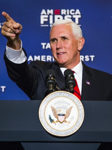 Vice President Mike Pence delivers his speech, primarily on the benefits of the recent tax cuts, at the America First Policies event at the Phoenix Marriott Resort Tempe at The Buttes, Tuesday, May 1, 2018.