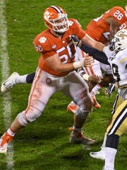 Clemson defensive tackle Justin Falcinelli (50) blocks