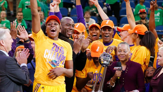 The Los Angeles Sparks celebrate their 2016 WNBA title.