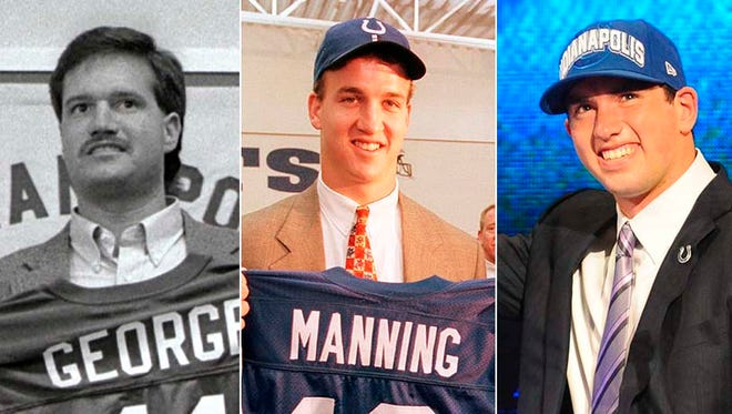 Quarterbacks Jeff George, Peyton Manning and Andrew Luck were all No. 1 overall picks of the Indianapolis Colts.
