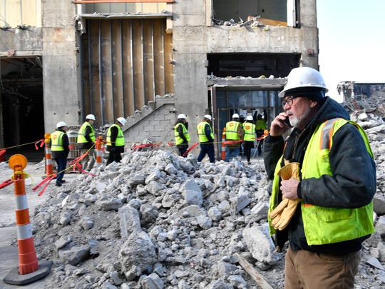 Steve Pettigrew of Demolition Dynamics gave a final tour to the media, Engineering students and business associates at the old LifeWay site to show how explosives are being placed for the implosion planned for Saturday Jan 6.