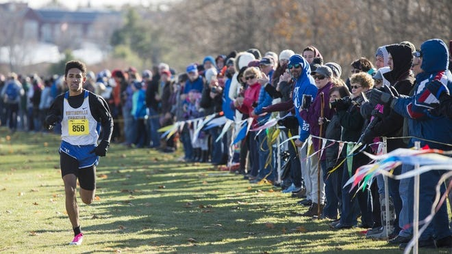 Whitinsville Christian's Joe Thumann is all along as he finished last November's Central Mass. Division 2 race in record time at Gardner Municipal Golf Course.