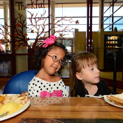 Brayden Dame, 4, right, and Lily Morrison, 6, left,