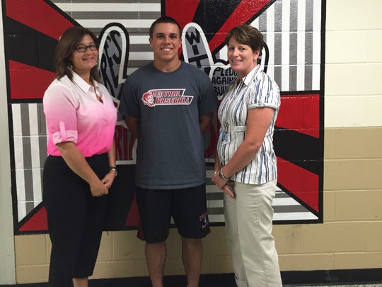 Sal Lombardo, May 2015 Grade 10 student of the month, is pictured with Coalition director Jerri Collevechio (left) and Hunterdon Central Principal High School Sue Cooley (right).