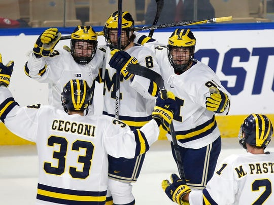 Quinn Hughes (43) celebrates his goal with teammates during the first period against Boston University on Sunday.
