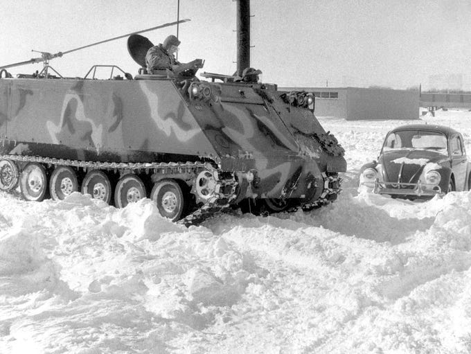 A National Guard armored personnel carrier was one of few vehicles to get out on the streets during the Blizzard of 1978 that left Indianapolis buried in more than 20 inches of snow.