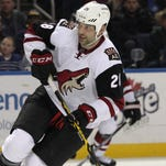 Arizona Coyotes left wing John Scott has played 11 games this season, averaging less than 7 minutes of ice time.