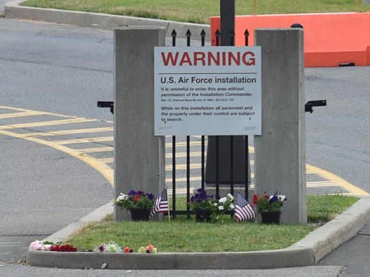 A small memorial at the main gate to Stewart Air National Guard Base in Newburgh.