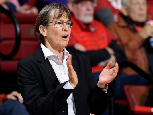 FILE - In this Dec. 16, 2015, file photo, Stanford head coach Tara VanDerveer claps for her team during the first half of an NCAA college basketball game against Tennessee, in Stanford, Calif.  For the better part of two decades, Stanford dominated women's basketball in the Pac-12. Now, teams like Arizona State and Oregon State are catching up and building their own legacies. (AP Photo/Marcio Jose Sanchez, File)