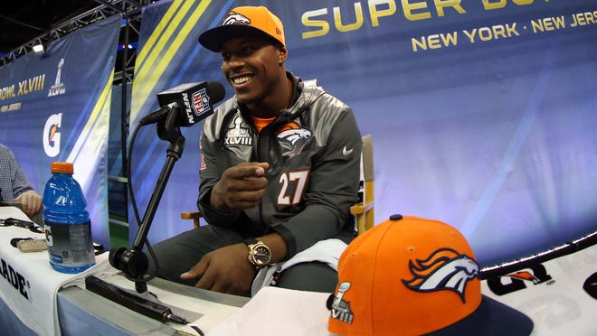 Denver Broncos running back Knowshon Moreno is interviewed during Media Day for Super Bowl XLIII at the Prudential Center in Newark.