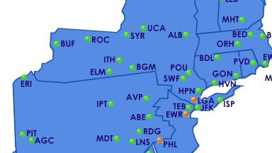 The Federal Aviation Administration's flight-delay map shows back up at three of the Northeast's busiest airport around noon ET on Wednesday, April 30, 2014.