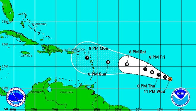Updated trajectory as of 11:00 p.m. Wednesday.