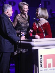 Harold Matzner, Donna MacMillan and Helene Galen speak to the audience during the McCallum Theatre annual gala benefit on Thursday, Dec. 3, 2015.