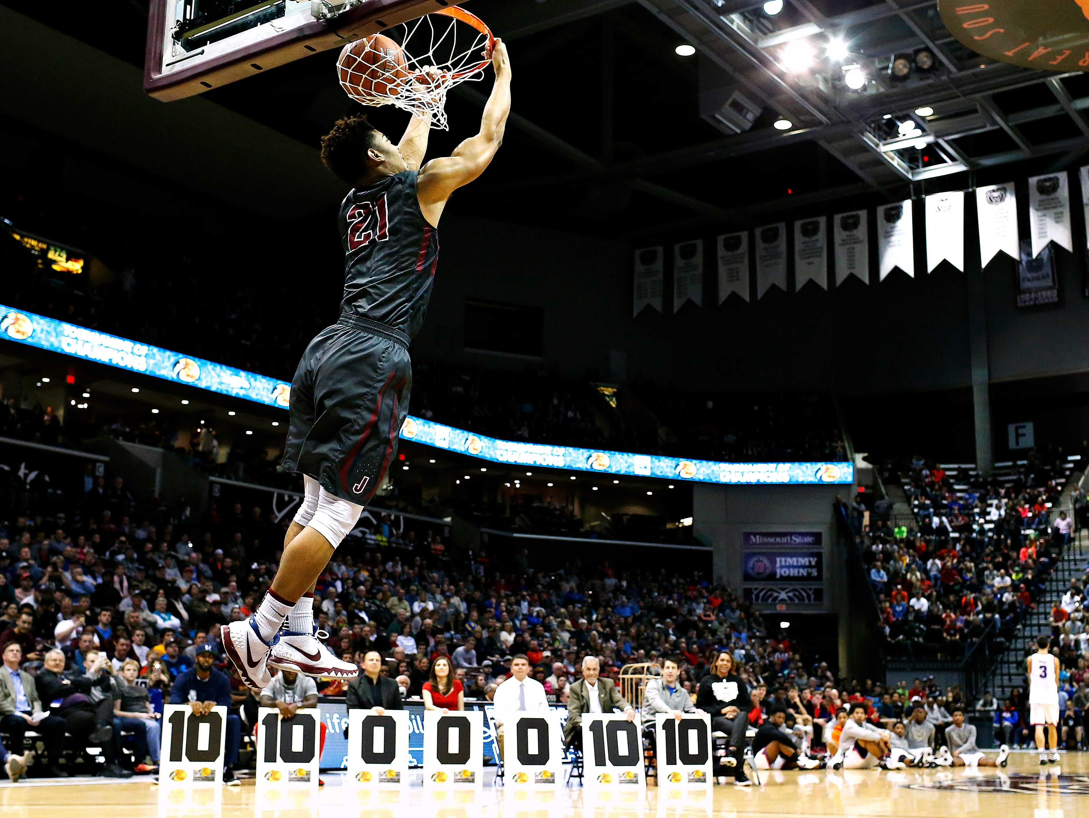 Darrian Guillory of Joplin High School (Joplin, Mo.) dunks during the dunk contest portion of the 2016 Tournament of Champions at JQH Arena in Springfield, Mo. on Jan. 15, 2015. Guillory won second place in the contest.