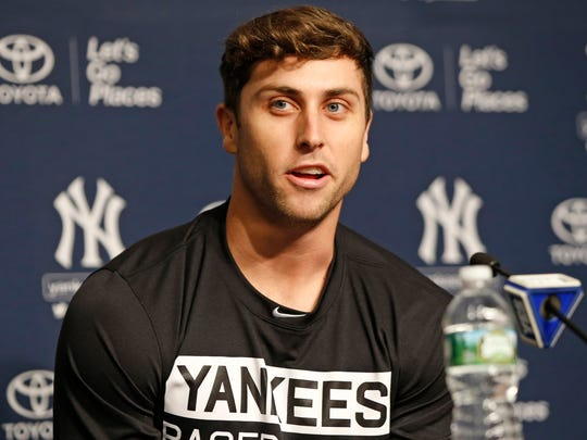 New York Yankees outfielder Dustin Fowler speaks to the media during a press conference at Yankee Stadium in New York, Wednesday, July 5, 2017. Fowler ruptured his right patellar tendon last Thursday after crashing into the outfield wall in the first inning of his major league debut in Chicago.