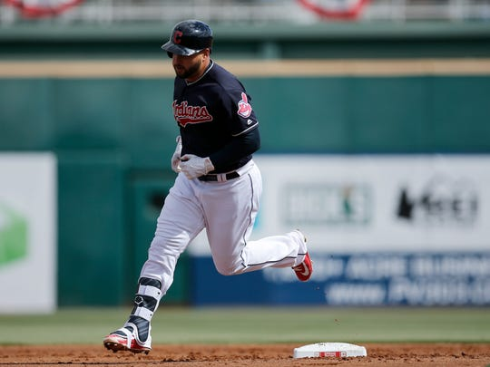 Cleveland Indians catcher Francisco Mejia (17) rounds second base after hitting a home run in the top of the bottom of the second inning of the Spring Training opening game between the Cleveland Indians and the Cincinnati Reds at Goodyear Stadium in Goodyear, Ariz., on Friday, Feb. 23, 2018.