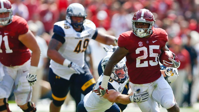 Alabama running back Joshua Jacobs had 11 carries for 97 yards and two touchdowns against Kent State on Saturday.