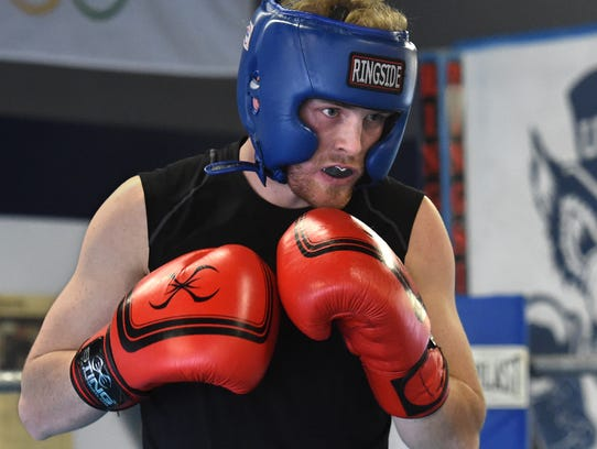 Zach Smith spars at the Nevada Boxing Gym on Tuesday
