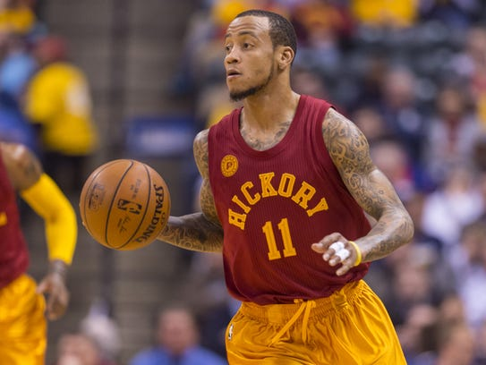 Indiana pacers guard monta ellis 11 brings the ball up court during