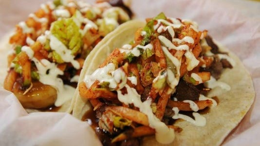 Soy Teriyaki Bistro's beef and shrimp tacos.