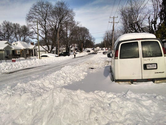 Taken after a plow went through Sherwood Avenue in Waynesboro on Monday, Jan. 25, 2016.