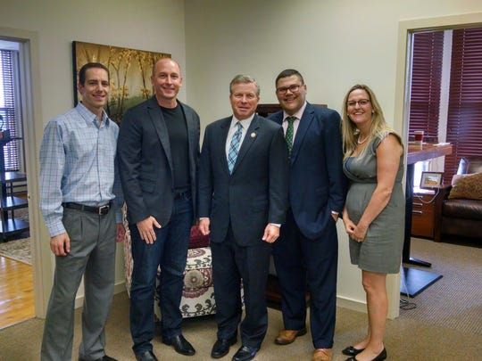 Congressman Charlie Dent visited Aramis Interactive Thursday, Aug. 25, 2016, to learn about the growing Internet marketing company in Lebanon. Picutred are, from left, Phil Masi, COO; Jeff Usner, president; Dent; Nick Aragon, vice president business development; and Kyleigh Ebersole, vice president media. Dent, a Republican, represents the 15th Congressional District, which includes parts of Lebanon.