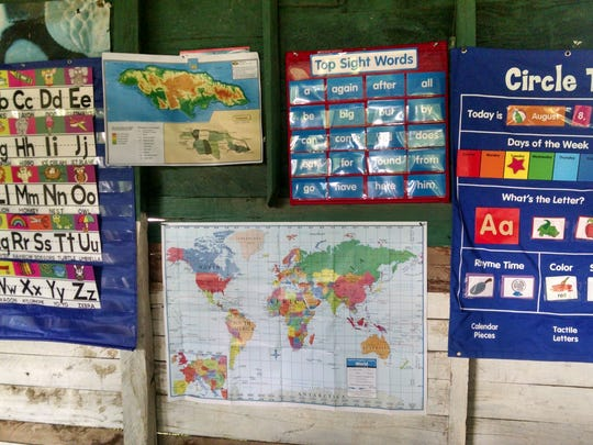 Study areas at a basic school (ages 3-6) in Roaring River, Jamaica.