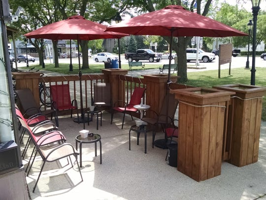 The patio at Pam's Fine Wines, 100 Main Street, Mukwonago.